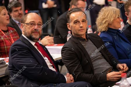 Stock Photo of German Minister of Foreign Affairs and member of the German Social Democratic PArty (SPD) Heiko Maas (R) and felow party member Martin Schulz (L) attend the SPD party convention at CityCube in Berlin, Germany, 07 December 2019. The SPD party members gather in the German capital from 06 to 08 December and vote for the new party leadership.