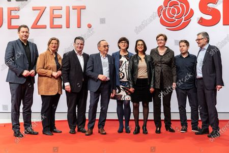 Stock Image of (L-R) Social Democratic Party (SPD) Secretary General Lars Klingbeil, SPD Chairwoman in Saarland and deputy federal board chair Anke Rehlinger, German Minister of Labor and Social Affairs and deputy federal board chair Hubertus Heil,   Social Democratic Party (SPD) co-chairs Norbert Walter-Borjans and Saskia Esken, SPD Chairwoman in Schleswig-Holstein and deputy federal board chair Serpil Midyatli, Member of the Landtag Brandenburg of the German Social Democratic Party (SPD) and deputy federal board chair Klara Geywitz, Social Democratic Party (SPD) youth organization Jusos chairman and deputy federal board chair Kevin Kuehner, The Social Democratic Party (SPD) treasurer Dietmar Nietan during the Social Democratic Party (SPD) Party Convention at CityCube in Berlin, Germany, 07 December 2019. The SPD party members gather in the German capital from 06 to 08 December and vote for the new party leadership.