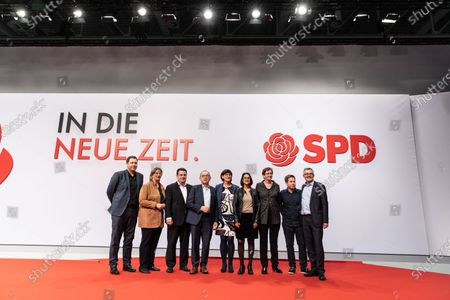 (L-R) Social Democratic Party (SPD) Secretary General Lars Klingbeil, SPD Chairwoman in Saarland and deputy federal board chair Anke Rehlinger, German Minister of Labor and Social Affairs and deputy federal board chair Hubertus Heil,   Social Democratic Party (SPD) co-chairs Norbert Walter-Borjans and Saskia Esken, SPD Chairwoman in Schleswig-Holstein and deputy federal board chair Serpil Midyatli, Member of the Landtag Brandenburg of the German Social Democratic Party (SPD) and deputy federal board chair Klara Geywitz, Social Democratic Party (SPD) youth organization Jusos chairman and deputy federal board chair Kevin Kuehner, The Social Democratic Party (SPD) treasurer Dietmar Nietan during the Social Democratic Party (SPD) Party Convention at CityCube in Berlin, Germany, 07 December 2019. The SPD party members gather in the German capital from 06 to 08 December and vote for the new party leadership.