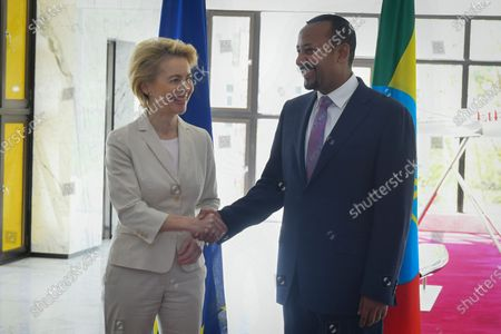 President of the European Commission Ursula von der Leyen (L) shakes hands with Prime Minister of Ethiopia and this year's Nobel Peace Prize laureate Abiy Ahmed (R) as she arrives for their meeting in Addis Ababa, Ethiopia, 07 December 2019. Von der Leyen is visiting Ethiopia on her first official trip outside Europe to meet African Union chief Moussa Faki Mahamat and Ethiopian President Sahle-Worke Zewde.