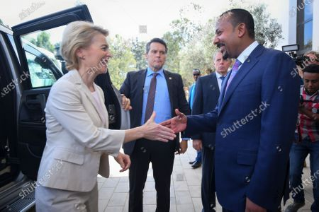 Stock Photo of President of the European Commission Ursula von der Leyen (L) shakes hands with Prime Minister of Ethiopia and this year's Nobel Peace Prize laureate Abiy Ahmed (R) as she arrives for their meeting in Addis Ababa, Ethiopia, 07 December 2019. Von der Leyen is visiting Ethiopia on her first official trip outside Europe to meet African Union chief Moussa Faki Mahamat and Ethiopian President Sahle-Worke Zewde.