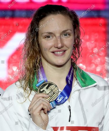 Katinka Hosszu of Hungary shows her gold medal during the medal ceremony of women's 200m medley at the LEN European Short Course Swimming Championships 2019 in Glasgow, Scotland, Great Britain, 07 December 2019.