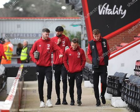 AFC Bournemouth players  (l to r) Jack Simpson, Philip Billing Ryan, Fraser and Jack Stacey of Bournemouth during AFC Bournemouth vs Liverpool, Premier League Football at the Vitality Stadium on 7th December 2019