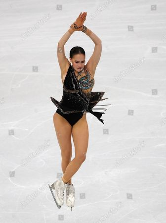 Russia's Alina Zagitova competes in the women's free skating program during the figure skating Grand Prix finals at the Palavela ice arena, in Turin, Italy