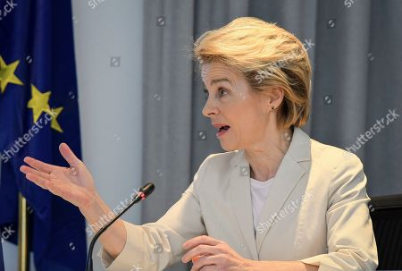 Stock Image of Newly elected President of the European Commission Ursula von der Leyen speaks after meeting with Ethiopia's Nobel Peace Prize winning Prime Minister, Abiy Ahmed at the Prime Minister's office in the capital Addis Ababa, Ethiopia . The new European Commission president says she chose Africa as her first visit outside Europe as it has some of the world's fastest-growing economies and some of its biggest challenges including climate change