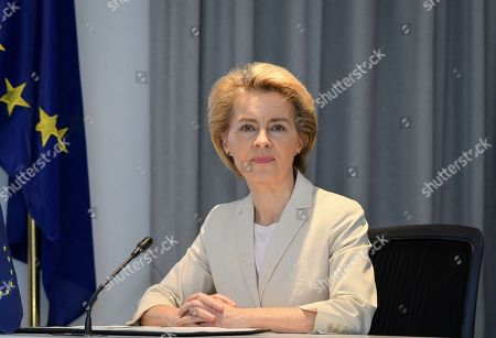 Stock Picture of Newly elected President of the European Commission Ursula von der Leyen speaks after meeting with Ethiopia's Nobel Peace Prize winning Prime Minister, Abiy Ahmed at the Prime Minister's office in the capital Addis Ababa, Ethiopia . The new European Commission president says she chose Africa as her first visit outside Europe as it has some of the world's fastest-growing economies and some of its biggest challenges including climate change