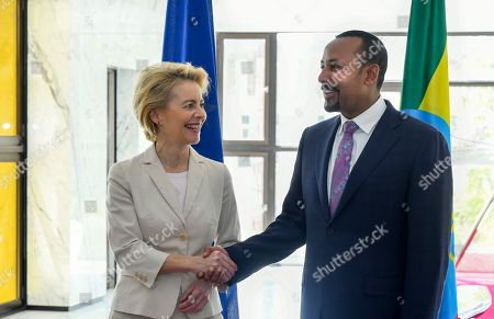 Abiy Ahmed, Ursula von der Leyen. Newly elected President of the European Commission Ursula von der Leyen, left, meets with Ethiopia's Nobel Peace Prize winning Prime Minister, Abiy Ahmed, right, at the Prime Minister's office in the capital Addis Ababa, Ethiopia . The new European Commission president says she chose Africa as her first visit outside Europe as it has some of the world's fastest-growing economies and some of its biggest challenges including climate change