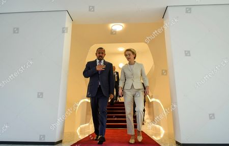 Abiy Ahmed, Ursula von der Leyen. Newly elected President of the European Commission Ursula von der Leyen, right, walks with Ethiopia's Nobel Peace Prize winning Prime Minister, Abiy Ahmed, left, as they meet at the Prime Minister's office in the capital Addis Ababa, Ethiopia . The new European Commission president says she chose Africa as her first visit outside Europe as it has some of the world's fastest-growing economies and some of its biggest challenges including climate change