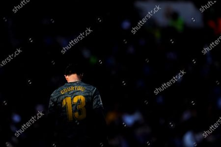 Real Madrid's goalkeeper Thibaut Courtois during the Spanish LaLaiga soccer match between Real Madrid and Espanyol at Santiago Bernabeu Stadium, in Madrid, Spain, 07 December 2019.