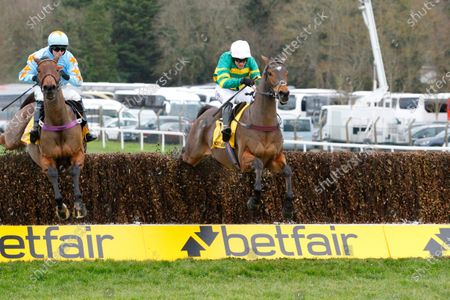 Stock Picture of Defi Du Seuil and Barry Geraghty [right] win the Betfair Tingle Creek Chase at Sandown from Un De Sceaux.