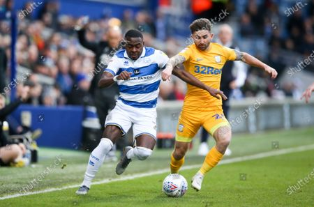 Bright Osayi-Samuel of QPR & Sean Maguire of Preston North End  appeals