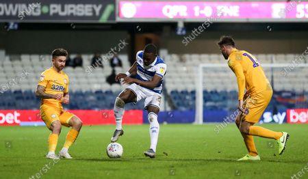 Stock Photo of Bright Osayi-Samuel of QPR , Sean Maguire of Preston North End  & Andrew Hughes of Preston North End