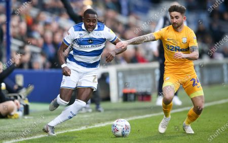 Stock Picture of Bright Osayi-Samuel of QPR  keeps the ball in play and gets past Sean Maguire of Preston North End