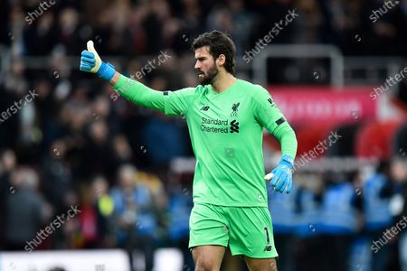 Alisson Becker (1) of Liverpool gives a thumbs up ahead of kick off the Premier League match between Bournemouth and Liverpool at the Vitality Stadium, Bournemouth