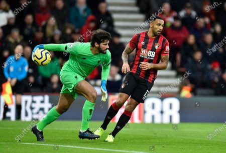 Alisson Becker (1) of Liverpool in action during the Premier League match between Bournemouth and Liverpool at the Vitality Stadium, Bournemouth