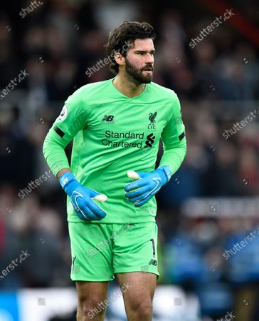 Alisson Becker (1) of Liverpool during the Premier League match between Bournemouth and Liverpool at the Vitality Stadium, Bournemouth