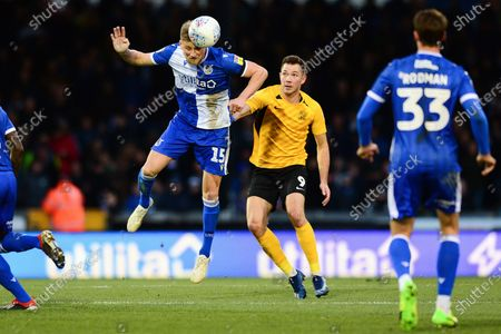 Alfie Kilgour of Bristol Rovers under pressure from Liam Ridgewell of Southend United