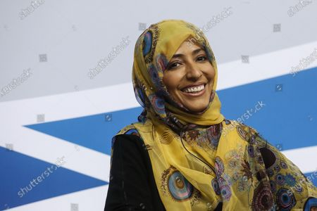 Stock Picture of Yemeni Tawakkol Karman, Nobel Peace Prize Laureate, attends the MED Conference closing remarks at Parco dei Principi Hotel in Rome, Italy, 07 December 2019. The 5th edition of the MED, an initiative for high-level dialogue on issues regarding the Mediterranean, runs in Rome from 05 to 07 December.