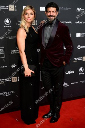 Pierfrancesco Favino (R), member of the cast of the film 'The Traitor' and his wife Anna Ferzetti (L), pose on the red carpet of the 32nd European Film Awards ceremony in Berlin, Germany, 07 December 2019.