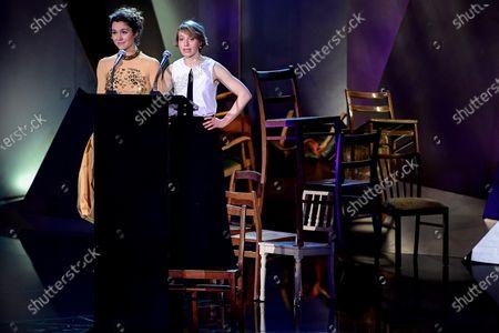 Presenters Aiste Dirziute (L) and Anna Brueggemann (R) lead through the 32nd European Film Awards ceremony