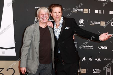 Members of the cast of the film 'Gundermann', German actor Alexander Scheer (R) and German director Andreas Dresen (L) attend the red carpet of the 32nd European Film Awards ceremony in Berlin, Germany, 07 December 2019.