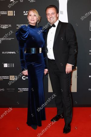 Members of cast of the film 'Queen of Hearts', Danish director Niclas Bendixen (L) and Danish actress Trine Dyrholm (R) attend the red carpet of the 32nd European Film Awards ceremony in Berlin, Germany, 07 December 2019.