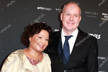 Stock Photo of David Yates (R) and his wife Yvonne Walcott Yates (L) attend the red carpet of the 32nd European Film Awards ceremony in Berlin, Germany, 07 December 2019.