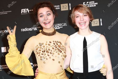 Aiste Dirziute (L) and German actress Anna Brueggemann (R) attend the red carpet of the 32nd European Film Awards ceremony in Berlin, Germany, 07 December 2019.