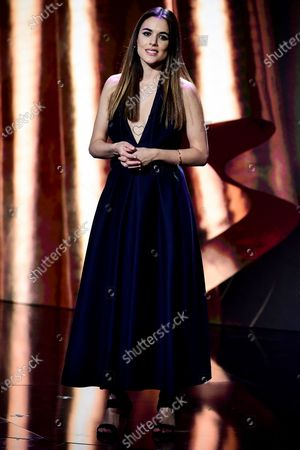 Stock Photo of Spanish actress Adriana Ugarte reacts as she attends the 32nd European Film Awards ceremony in Berlin, Germany, 07 December 2019.