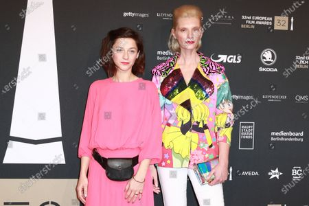 Agata Buzek (R) and Polish actress Izabela Gwizdak (L) attend the red carpet of the 32nd European Film Awards ceremony in Berlin, Germany, 07 December 2019.