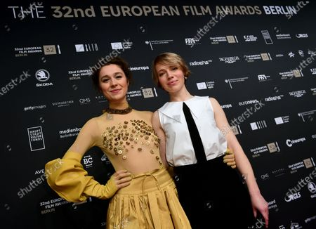 Hosts of the evening, Lithuanian actress Aiste Dirziute (L) and German actress Anna Brueggemann pose on the red carpet of the 32nd European Film Awards ceremony in Berlin, Germany, 07 December 2019.