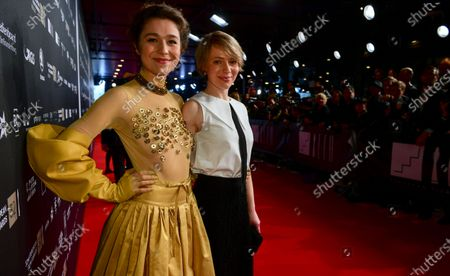 Stock Picture of Hosts of the evening, Lithuanian actress Aiste Dirziute (L) and German actress Anna Brueggemann pose on the red carpet of the 32nd European Film Awards ceremony in Berlin, Germany, 07 December 2019.