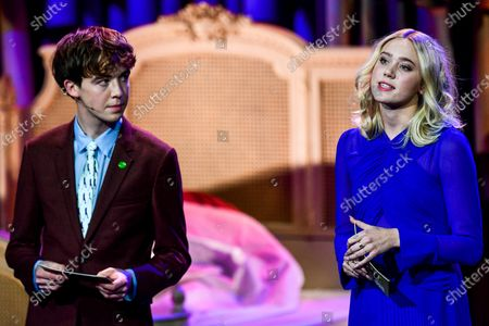 Stock Picture of Norwegian actress Josefine Frida Pettersen (R) and British actor Alex Lawther (L) attend the 32nd European Film Awards ceremony in Berlin, Germany, 07 December 2019.