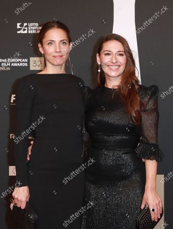 Members of the cast of the film 'Blind Spot', Swedish Director and whiter Tuva Novotny (L) and Norwegian actress Pia Tjelta (R) attend the red carpet of the 32nd European Film Awards ceremony in Berlin, Germany, 07 December 2019.