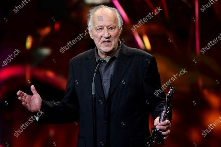 Werner Herzog reacts as he receives the EFA Lifetime Achievement Award during the 32nd European Film Awards ceremony in Berlin, Germany, 07 December 2019.