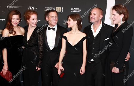 Hannah Herzsprung, Leonie Benesch, Volker Bruch, Liv Lisa Fries, Benno Fuehrmann and Fritzi Haberlandt attend the red carpet of the 32nd European Film Awards ceremony in Berlin, Germany, 07 December 2019.