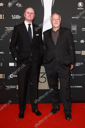 Werner Herzog (R) attends the red carpet of the 32nd European Film Awards ceremony in Berlin, Germany, 07 December 2019.