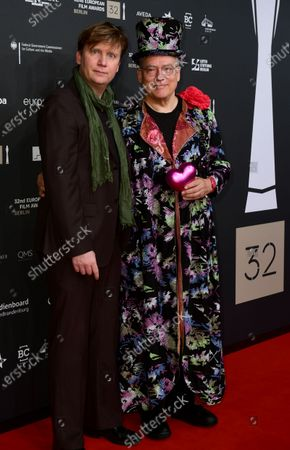 Oliver Sechting (L) and Rosa von Praunheim pose on the red carpet for the 32nd European Film Awards ceremony in Berlin, Germany, 07 December 2019.