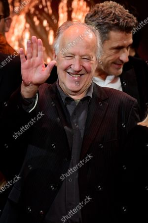 Stock Picture of Werner Herzog (C) reacts during the 32nd European Film Awards ceremony in Berlin, Germany, 07 December 2019.