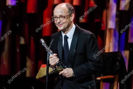 Ed Guiney accepts the EFA European Director 2019 award on behalf of Yorgos Lanthimos (not in the picture) for his film 'The Favourite' during the 32nd European Film Awards ceremony in Berlin, Germany, 07 December 2019.