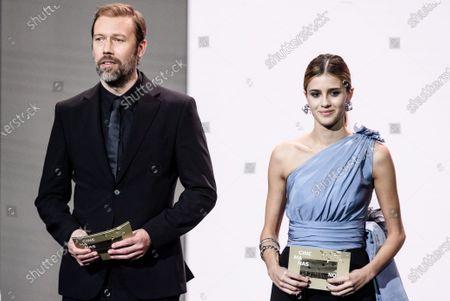 Jakob Cedergren (L) and Italian actress Benedetta Porcaroli (R) present the European Screenwriter Award 2019 during the 32nd European Film Awards ceremony in Berlin, Germany, 07 December 2019.