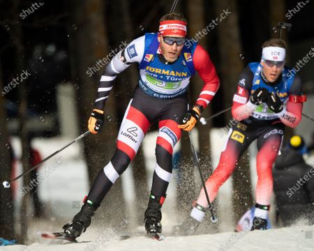 Simon Eder of Austria in action during the Men's 4x7,5 km relay race at the IBU Biathlon World Cup in Ostersund, Sweden, 07 December 2019.