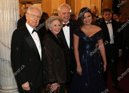 Former Italian Premier Mario Monti (L) with his wife poses with Alexander Pereira (2-R) upon arrival for La Scala opera house's gala season opener, at the Giacomo Puccini opera 'Tosca', in Milan, Italy, 07 December 2019. The Scala opera house season opener is considered one of the highlights of the European cultural calendar.