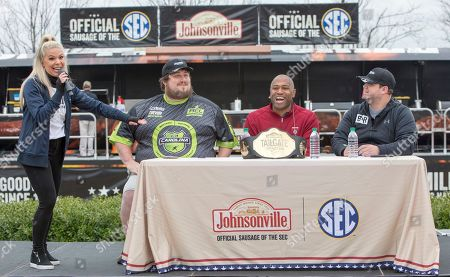 From left, Emcee Nikky Williams introduces the judges for the Johnsonville Tailgate Throwdown Trevor Morris, Shaun Alexander and Mello on in Atlanta