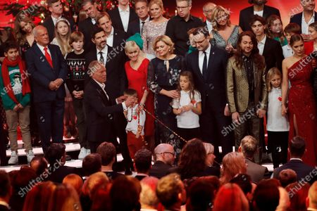 Germen TV presenter Johannes Baptist Kerner (L), German Minister for Agriculture Julia Kloeckner (C) and German Health Minister Jens Spahn (L-4) during the 'Ein Herz Fuer Kinder' (lit: A Heart for Children) gala show in Berlin, Germany, 07 December 2019. German television channel ZDF and newspaper 'Bild' collected donations for children's charity organizations in Germany and the whole world.
