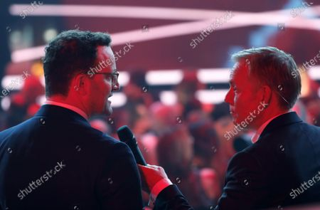 Johannes Baptist Kerner (R) talks to German Minister for Health Jens Spahn (L) during the 'Ein Herz Fuer Kinder' (lit: A Heart for Children) gala show in Berlin, Germany, 07 December 2019. German television channel ZDF and newspaper 'Bild' collected donations for children's charity organizations in Germany and the whole world.