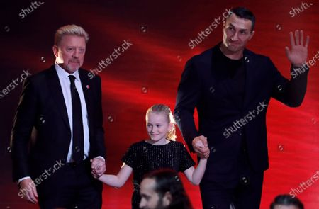 Former German tennis player Boris Becker (L) and former boxing world heavyweight champion Ukrainian Wladimir Klitschko (R) during the 'Ein Herz Fuer Kinder' (lit: A Heart for Children) gala show in Berlin, Germany, 07 December 2019. German television channel ZDF and newspaper 'Bild' collected donations for children's charity organizations in Germany and the whole world.