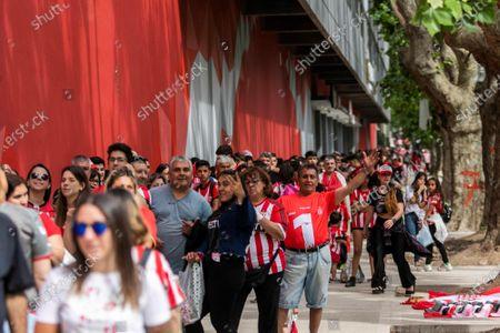 Supporters of Estudiantes de La Plata waits to enter the presentation of Javier Mascherano to the team in the stadium Jorge Luis Hirschi of La Plata, Argentina, 07 December 2019.