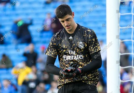 Stock Image of Thibaut Courtois of Real Madrid gestures
