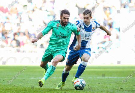 Dani Carvajal of Real Madrid and Bernardo Espinosa of Espanyol fight for the ball